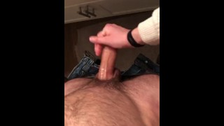 Jerking Him Off Hiding In Our Friend's Bathroom All Oiled,with My Boobs Out