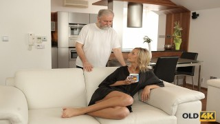OLD4K. Older Husband Knows How To Make His Teen Babe Satisfied